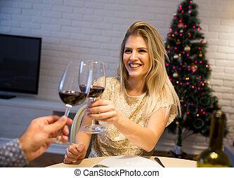 ou, couple, année, verre, nuit, nouveau, grillage, noël, vin rouge