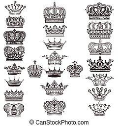 ou, couronnes, détaillé, ensemble, collection, vecteur, conception, mega