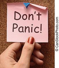 ou, délassant, pas, note, non, panique, panicking, moyens