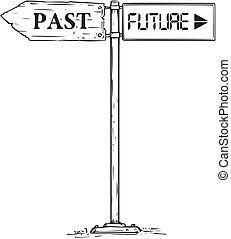 ou, decisão, sinal, passado, futuro, seta, desenho, estrada