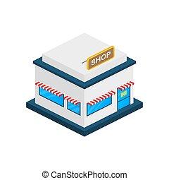 ou, devant, extérieur, marché, magasin, illustration., vecteur, magasin, facade., stockage