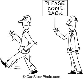 ou, directeur, travail, patron, comique, signe., dos, s'il vous plaît, tenue, partir, vecteur, dessin animé, client, propriétaire, homme affaires, ouvrier, quoique, magasin, fâché, homme, venir