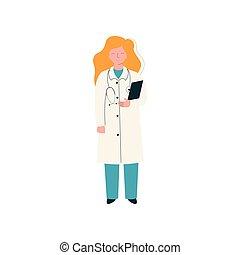 ou, docteur, presse-papiers, ouvrier, monde médical, caractère, illustration, uniforme, clinique, vecteur, stéthoscope, femme, hôpital