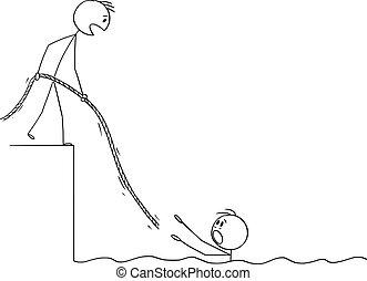 ou, eau, rope., autre, dessin animé, noyade, lui, vecteur, homme affaires, illustration, donner, lui, homme, portion