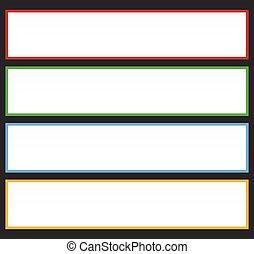 ou, elements., coloré, série, bouton, messages., forme abstraite, étiquette, étiquette, fond, rectangulaire, bannière, ton