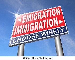 ou, emigração, imigração