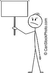 ou, fâché, signe, vecteur, tenue, homme affaires, dessin animé, vide, homme