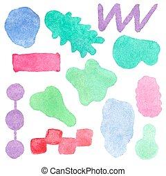 ou, fait main, aquarelle., taches, -, ensemble, aquarelle, vecteur, conception, taches, illustration., éléments