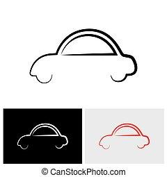 ou, famille, voiture, résumé,  -, signe, vecteur, élégant,  logo, icône, Symbole