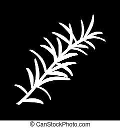 ou, feuilles, isolé, rosmarinus, flowers., vecteur,...
