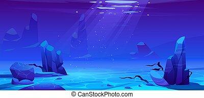 ou, fundo, experiência., vazio, oceânicos, submarinas, mar