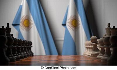 ou, gages, chessboard., argentine, 3d, politique, rivalité, animation, échecs, apparenté, derrière, jeu, drapeaux