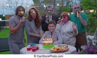 ou, garden-party, concept., famille, backyard., célébration, vacances, dehors