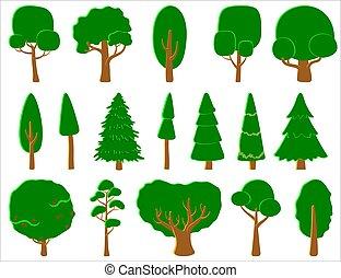 ou, grand, jeux, ensemble, jeu, flat., ui, conifère, cartes, logo, arbre, stylisé, à feuilles caduques, arbres., vecteur