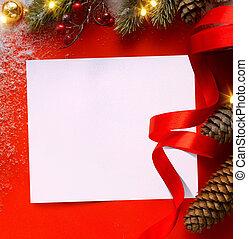 ou, hiver, saison, vente, fetes, banner;, conception, fond, noël carte, salutation