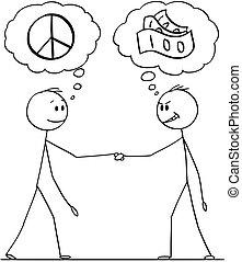 ou, homens, pensando, dinheiro, paz, dois, caricatura, políticos, homens negócios, handshaking