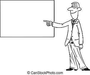 ou, homme affaires, tableau noir, vide, comique, pointage, homme, projection, vecteur, signe, whiteboard., dessin animé
