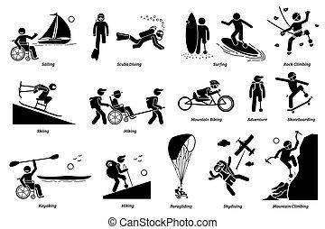 ou, icons., handicapé, crosse, activités, gens, récréatif, handicapé, adaptatif, figure
