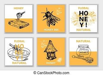 ou, illustration, abeille, emblème, miel, hive., vecteur, logo