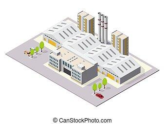 ou, industriel, bâtiments, isométrique, usine