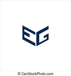 ou, initiale, gabarit, eg, logo, ge, vecteur, lettre, ...