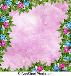 ou, invitation, bleu, carte, rose, félicitation, orchidées
