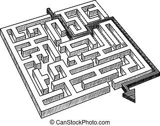 ou, labyrinthe, résolu, labyrinthe, flèche
