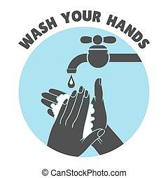 ou, lavage, symbole, sûr, lavage main, vecteur, mains, ton