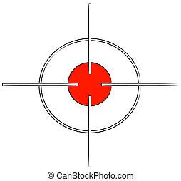 ou, marca, alvo, arma, vermelho, cabelos, crucifixos