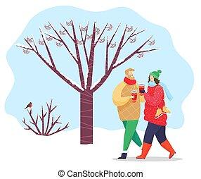 ou, marche, vecteur, parc, amis, hiver, couple