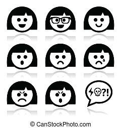 ou, menina, mulher, avatar, caras, smiley
