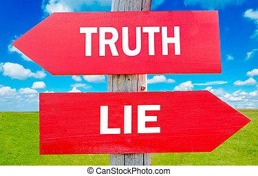 ou, mensonge, vérité