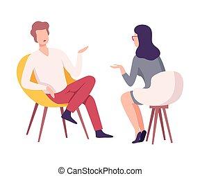 ou, microphone, conférence, vivant, caractère, presse, plat, journaliste, séance, donner, entrevue, femme, chaise, célébrité, vecteur, illustration, homme affaires, rapport