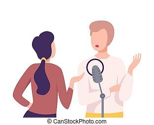 ou, microphone, politicien, plat, donner, journaliste, studio, entrevue, femme, vecteur, illustration, homme affaires