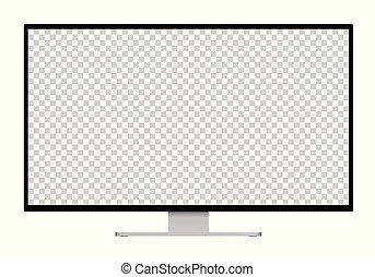 ou, monitor, espaço, texto, imagem, -, isolado, ilustração, prata, realístico, computador, pretas, levantar, fundo, tela branco, branca, seu, transparente