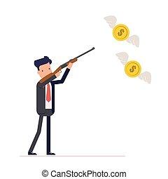 ou, mouches, chasse, formulaire, butterflies., dollars, eps10., argent., usage, illustration, fusil, firearms., directeur, vecteur, homme affaires, ailes