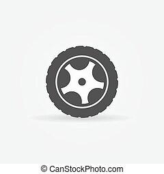 ou, noir, logo, icône, roue