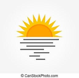 ou, pôr do sol, logo., sol, mar, ícone