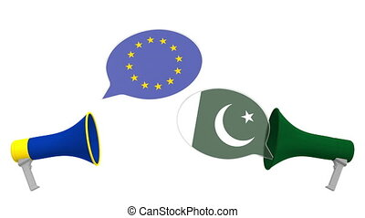 ou, pakistan, 3d, pourparlers, dialogue, européen, bulles, apparenté, drapeaux, intercultural, parole, eu., international, animation, union