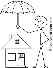 ou, parapluie, famille, maison, agent, dessin animé, vecteur, tenue, homme affaires, protéger, homme, assurance