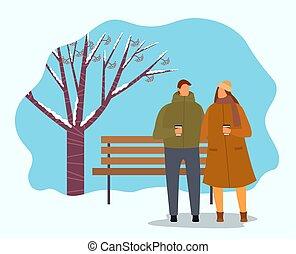 ou, parc, amis, hiver, café buvant, couple