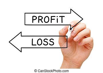 ou, perte, concept affaires, profit, flèches