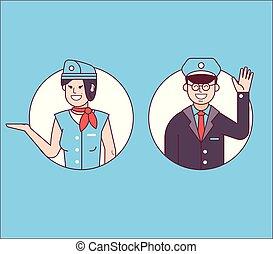 ou, piloto, mordomo, stewardess, ícones