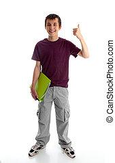 ou, polegares, menino adolescente, estudante, cima