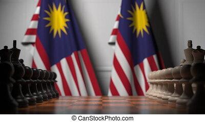 ou, politique, apparenté, gages, 3d, échecs, drapeaux, chessboard., rivalité, malaisie, derrière, animation, jeu