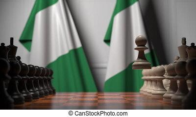 ou, politique, apparenté, gages, 3d, échecs, drapeaux, nigeria, chessboard., rivalité, animation, derrière, jeu