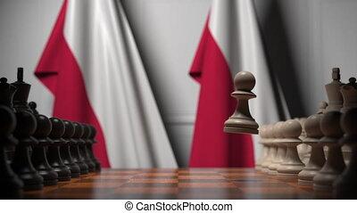 ou, politique, pologne, apparenté, gages, 3d, échecs, drapeaux, chessboard., rivalité, animation, derrière, jeu