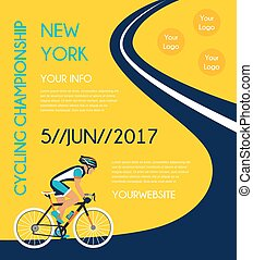 ou, poster., concurrence, cyclisme, course