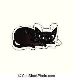 ou, pretas, dia das bruxas, desenho moda, gato, isolated., ilustração, impressão, vetorial