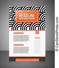 ou, print., página, negócio, impressão, fundo, template., oferta, folheto, voador, flyer., desenho, desenho, em branco, frente
